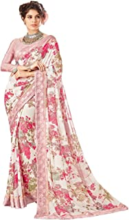 RajRajeshwari Women's Pink Color Floral Printed Faux Georgette Saree