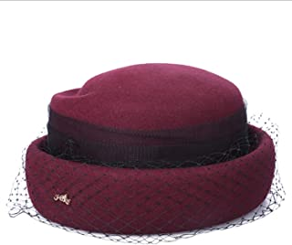 Lxy New Winter Wool hat Female hat Retro hat Banquet Network Bell wk (Color : Red, Size : L)