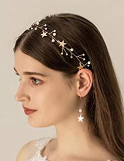 BERYUAN Sequins Pearl Star Headband Earrings Set Gold Wedding Hair Accessories Tassel Star Pendant Jewelry for Her Gift fo...