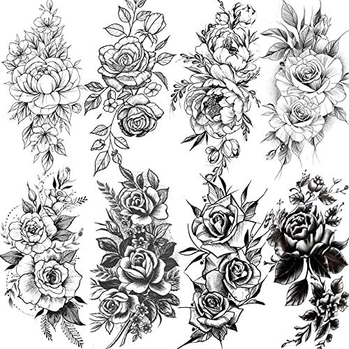 LAROI 8 Fogli Realistico Fiore Grande Peonia Rosa Adesivi Tatuaggi Temporanei Gambe Braccia Flora Impermeabile Tatuaggio Temporaneo Donna Adulti Ragazze Signora Falso Grande Finti Seno Sexy Tattoos
