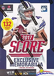 2017 Score NFL Football HUGE Factory Sealed Retail Box with 132 Cards & SPECIAL MEMORABILIA Card! Includes 20+ INSERTS & 30+ RCS! Look for RC & Autos of Patrick Mahomes, Deshaun Watson & More! WOWZZER