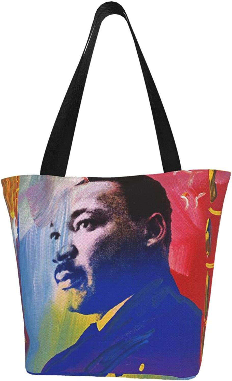 Martin Luther King Day Abstract Art Themed Printed Women Canvas Handbag Zipper Shoulder Bag Work Booksbag Tote Purse Leisure Hobo Bag For Shopping
