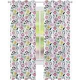 jinguizi Cortinas para dormitorio pintura floreciente peonía hierbas Aster W42 x L72 cortinas opacas para dormitorio