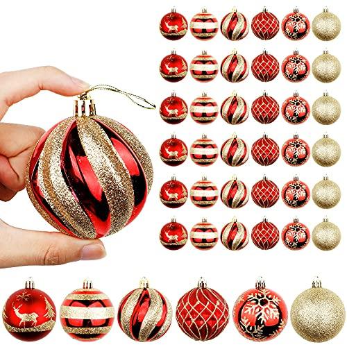 OurWarm palline di Natale 36 pezzi,palline grandi albero di natale,palle di Natale di infrangibili rosse e dorate per decorazioni, per palline albero Natale, decorazioni per matrimoni (7cm)