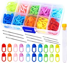 120 Pieces Knitting Crochet Stitch Markers,Colorful Knitting Markers Crochet Clips with 9 Pieces Big Eye Sewing Needles (2...