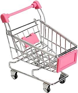 Wudi 1CP Mini Caddy Carrito de supermercado Modo de Compras Juguete Utilidad de la Carretilla de Almacenamiento (Rosa roja)