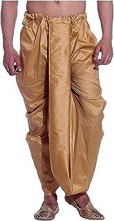 Royal Kurta Men's Kora Silk Dhoti (aksdn_gold_Free Size)