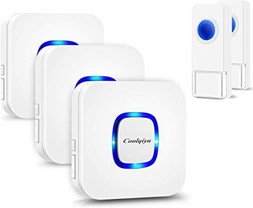 Coolqiya Wireless Doorbell with 2 Remote Waterproof Buttons and 3 Plugin Receivers, Operating up to 1000 Feet Range, ...