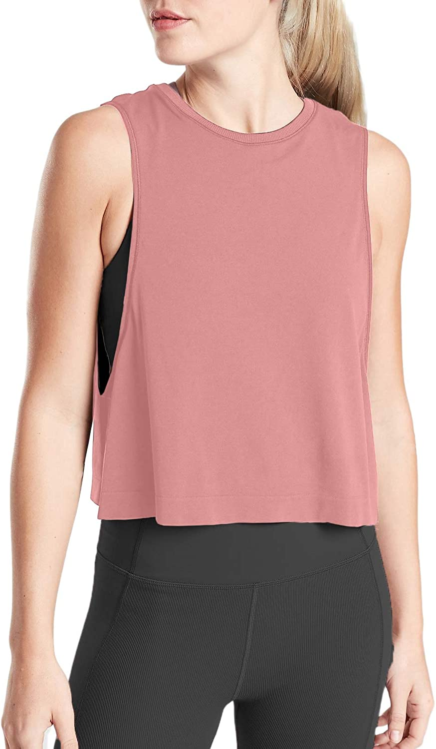Sanutch Workout Crop Tops for Women Cropped Workout Athletic Tops Workout Clothes Crop Top Workout Shirts for Women