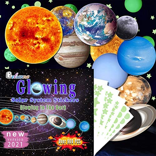 Glow in The Dark Stars and Planets 914pcs Bright Solar System Wall Stickers Glowing Ceiling product image