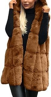 Mogogo Womens Hoodie Waistcoat Sleeveless Fluffy Faux Fur Parka Outerwear Coffee L