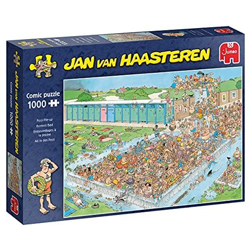 Jumbo 20039 Jan Van Haasteren-Ab in den Pool-1000 Teile Puzzlespiel, Mehrfarben