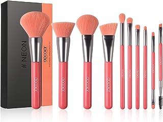 Docolor Makeup Brushes 10 Piece Neon Peach Makeup Brush Set Premium Synthetic Kabuki Foundation Blending Face Powder Mineral Eyeshadow Make Up Brushes Set