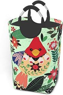 N\A Fleur Feuilles Oiseau Panier à Linge Sale vêtements Sac Pliable Panier à Linge Jouets Organisateur de Rangement avec p...