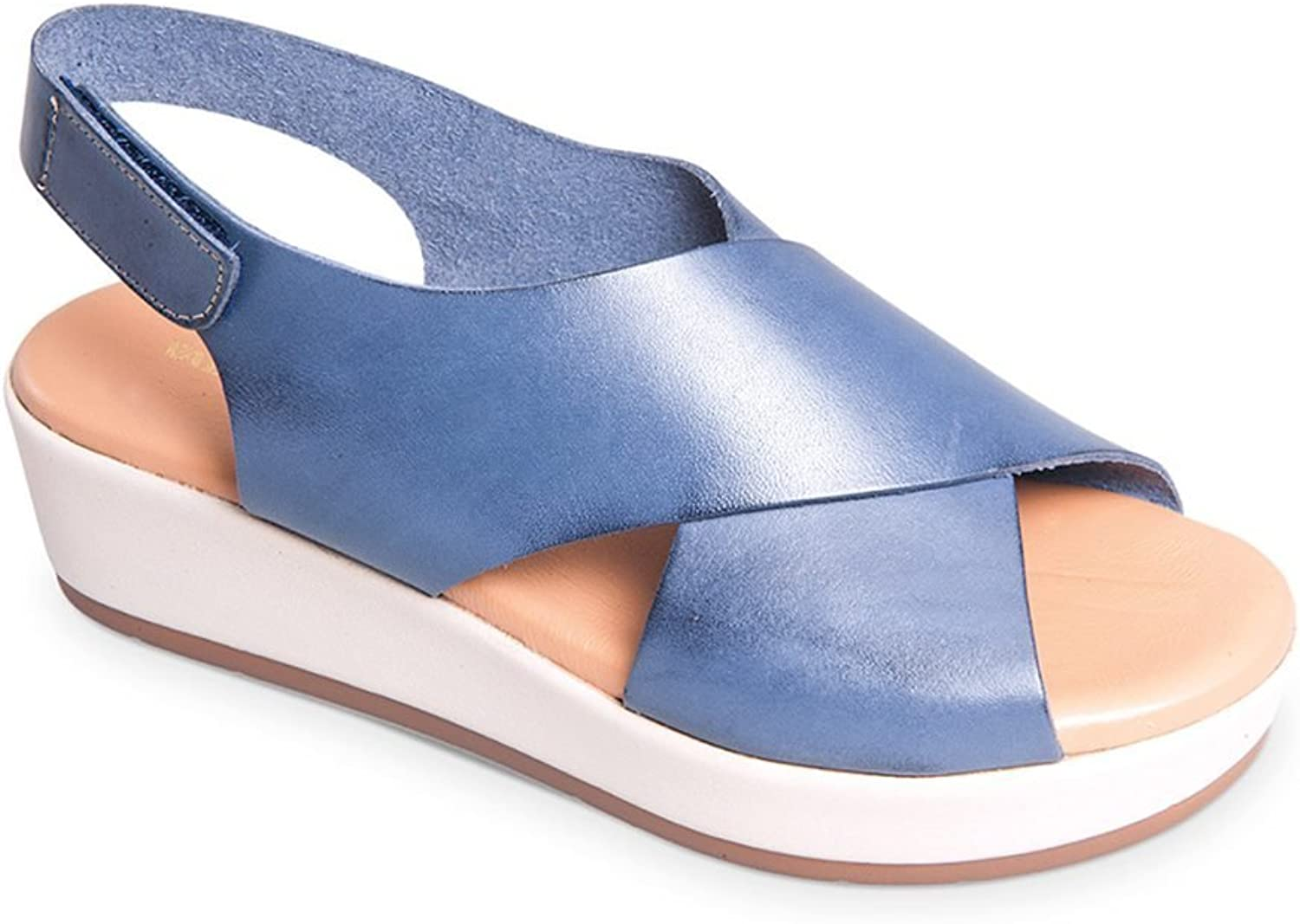 Vallegreen Woman's bluee Wedge shoes Sandal Made in
