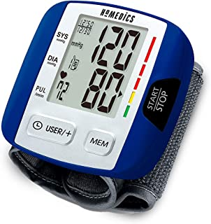Automatic Blood Pressure Monitor, Wrist | Smart Measure Technology | Battery Powered, One-Touch Operation | Irregular Heartbeat and Excessive Body Motion Detection, Memory Average Function | HoMedics