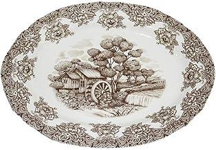 Claytan Waterwheel Brown Oval Plate 35.5cm
