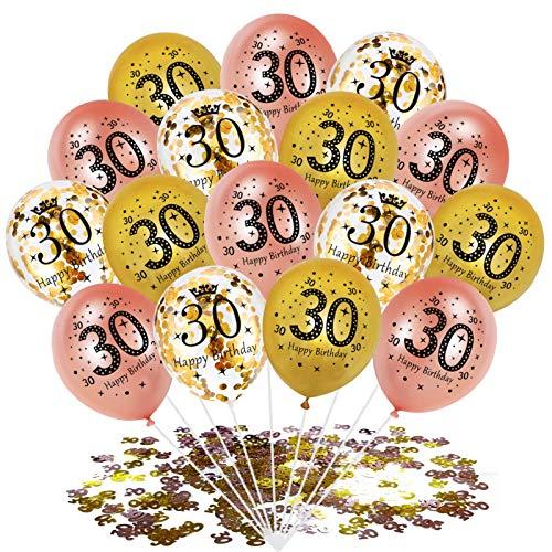 30pcs Luftballon 30. Geburtstag Rosegold,konfetti luftballons rosegold,Luftballons Gold,Konfetti Luftballon Set,30.Geburtstagsdeko,Geburtstag Luftballons für Party Deko,Konfetti Luftballons