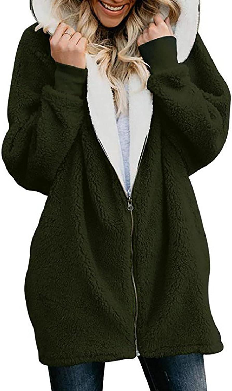 Women Casual Hooded Plush Jacket Coat,Zip Up Fleece Hoodie Outwear Cardigan Fuzzy Faux Fur Long Sleeve Blouse