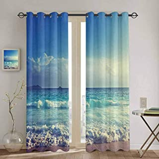 SONGDAYONE Kitchen Curtain Ocean Decor Bathroom Curtain Tropical Island Paradise Beach at Sunset Time with Waves and The Misty Sea Image W52 x L96 Inch Cream Turquoise