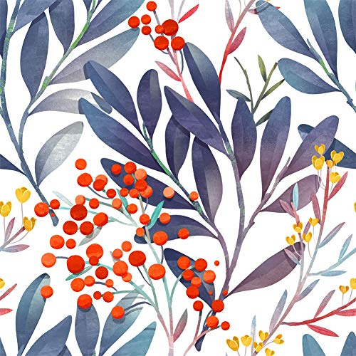 HaokHome 93031 Watercolor Floral Peel and Stick Wallpaper Removable White/Purple/Red Fruits Vinyl Self Adhesive Shelf Liner 17.7in x 9.8ft