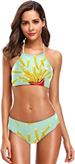 Cindly Halloween Red Vampire Lips Bikini Swimsuit Womens High Neck Halter Two Piece Bathing Suit