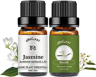 yethtious Jasmine Neroli Essential Oil Set Pure Therapeutic Grade 2 Pack Aromatherapy Gift Oils Kit 2x 10mL