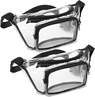 Veckle 2 Pack Clear Fanny Pack NFL Stadium Approved BTS Garth Brooks Concerts Clear Bag for Women, Black