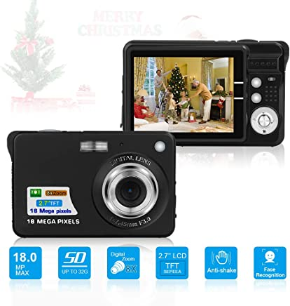 HD Mini Digital Cameras,Point and Shoot Digital Cameras for Kids Teenagers Beginners-Travel,Camping,Outdoors,School (Black 2)