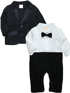 Baby Boys Tuxedo Wedding Romper and Jacket Formal Wear Suit