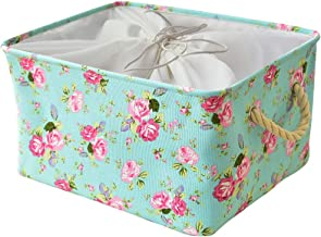 Inough Storage Bins,Collapsible Storage Basket Toys Clothes Crafts Organizer, Fabric Laundry Baskets Storage Bin with Handle for Underbed Closet Cube(Medium, Floral)