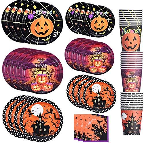 Halloween Tableware für Partys, 150 Stück Einmalige Verwendung Papiergeschirrset inklusive 60stk Pappteller und 30stk Pappbecher in 3 Mustern und 60stk Papierserviette für Halloween Party Deko