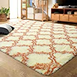 LOCHAS Luxury Velvet Shag Area Rug Modern Indoor Plush Fluffy Rugs, Extra Soft and Comfy Carpet, Geometric Moroccan Rugs for Bedroom Living Room Girls Kids Nursery, 5x8 Feet Champagne/Brown