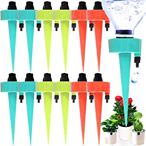 ENIVING 12PCS Plant Watering Device, Automatic Plant Waterer Spikes With Slow Release Control Valve Switch Plant System Adjustable Water Volume Drip System for Vegetable Gardens, Lawn,Flower Beds