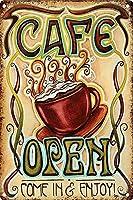 カフェオープン来て、ブリキの看板をお楽しみくださいヴィンテージ面白い生き物鉄の絵金属板個性ノベルティ
