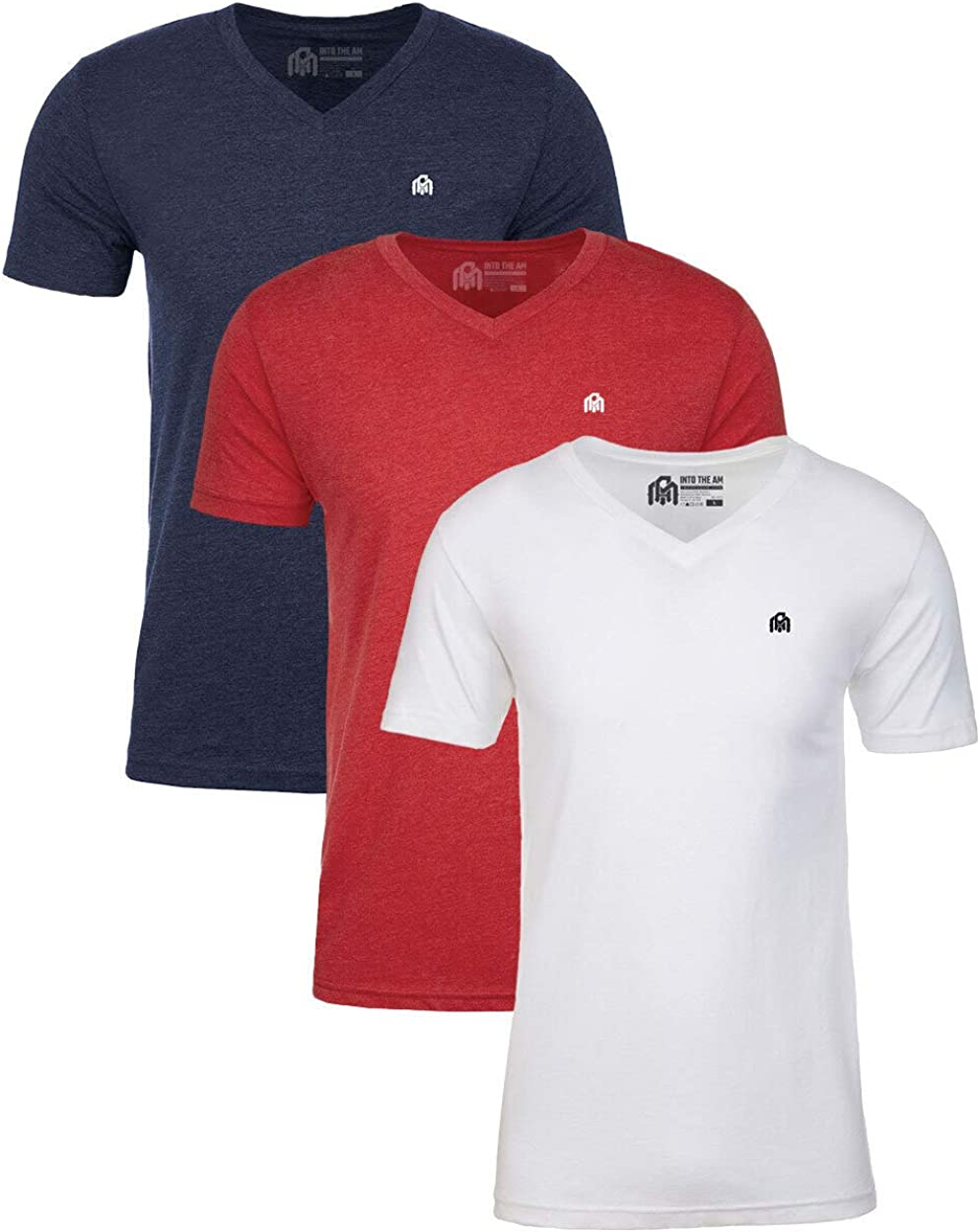 Soft Fitted Short Sleeve V Neck Tee Bundle INTO THE AM Mens V-Neck T-Shirts Multi-Pack