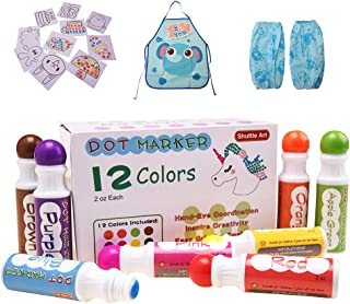 Shuttle Art 12 Colors Washable Dot Markers, Bingo Daubers Dabbers Dauber Dawgs for Kids Toddlers Preschool Children Art Craft Supply with 10 Patterns Double Adhesive Paper 1 Apron 1 Sleeve