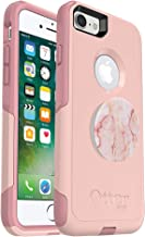 Bundle: OtterBox Commuter Series Case for iPhone 8 & iPhone 7 (NOT Plus) – (Ballet Pink) + PopSockets PopGrip – (Rose Marble)