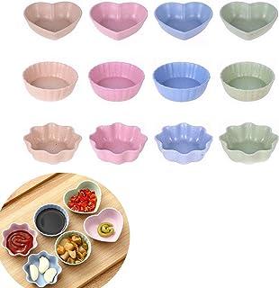cuencos platos platos de aperitivos color al azar UPKOCH 6 platos de salsa con forma de hojas de trigo para condimentar platos de sushi