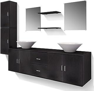 vidaXL Set Mobiliario de Baño con Lavabo Pack 9 Unidades de Color Negro en Conglomerado