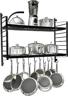 Wall Mounted Pot Rack, 2 Tier Black Iron Mesh Shelf Pan Storage Rack with 10 Hooks for Household Kitchen Storage, 30 x 12 x 25 Inch