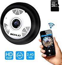 360° Panoramic Wireless WiFi IP Camera, DEXILIO Home Security Surveillance Camera with Fisheye Lens/Night Vision/Motion Detection/Cloud Storge,Watching Room Without Blind Area,Include 32GB Card