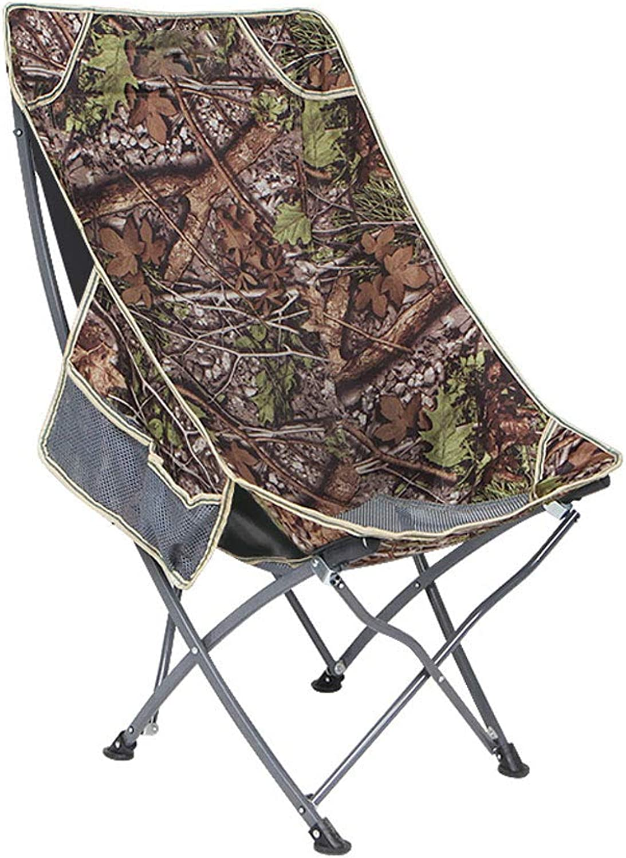 GLJ Outdoor Portable Folding Chair Back Fishing Chair Leisure Beach Chair Lunch Break Chair Home Moon Chair Folding Chair (color   Camouflage)
