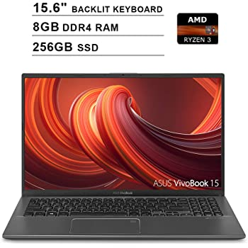 2020 ASUS VivoBook 15 15.6 Inch FHD 1080P Laptop (AMD Ryzen 3 3200U up to 3.5GHz, 8GB DDR4 RAM, 256GB SSD, AMD Radeon Vega 3, Backlit Keyboard, FP Reader, WiFi, Bluetooth, HDMI, Windows 10) (Grey)