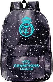 Real Madrid Champions League Fans Bookbag School Travel Laptop Luminous Backpack