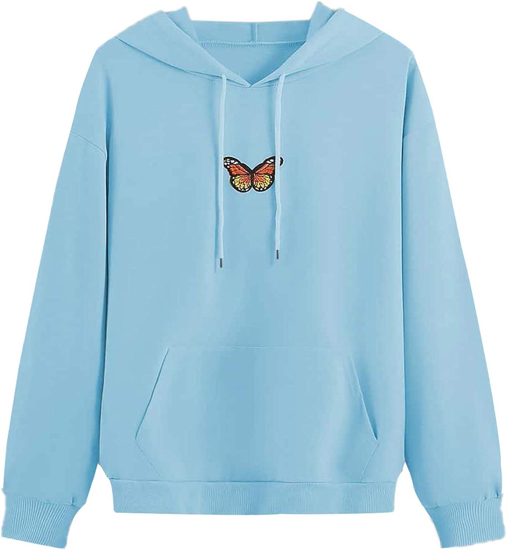 DIDK Women's Tie Dye Pocket Butterfly Embroidery Drawstring Hoodie Sweatshirt