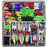 Lurowo Leurres de pêche Kit, Fishing Lures kit de Peche,Plastique vers,Minnow,Popper,2 Leurres Grenouille,141pcs...