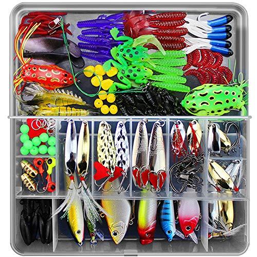 Lurowo Leurres de pêche Kit, Fishing Lures kit de Peche,Plastique vers,Minnow,Popper,2 Leurres Grenouille,141pcs artificielles pêche leurre Kit d'appâts de Pêche Portable avec Boîte (141pcs)