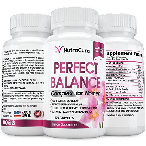 Perfect Balance Complex for Women - Vaginal Health Dietary Supplement - Candida Support - Promotes Fresh Vaginal pH -120 Capsules
