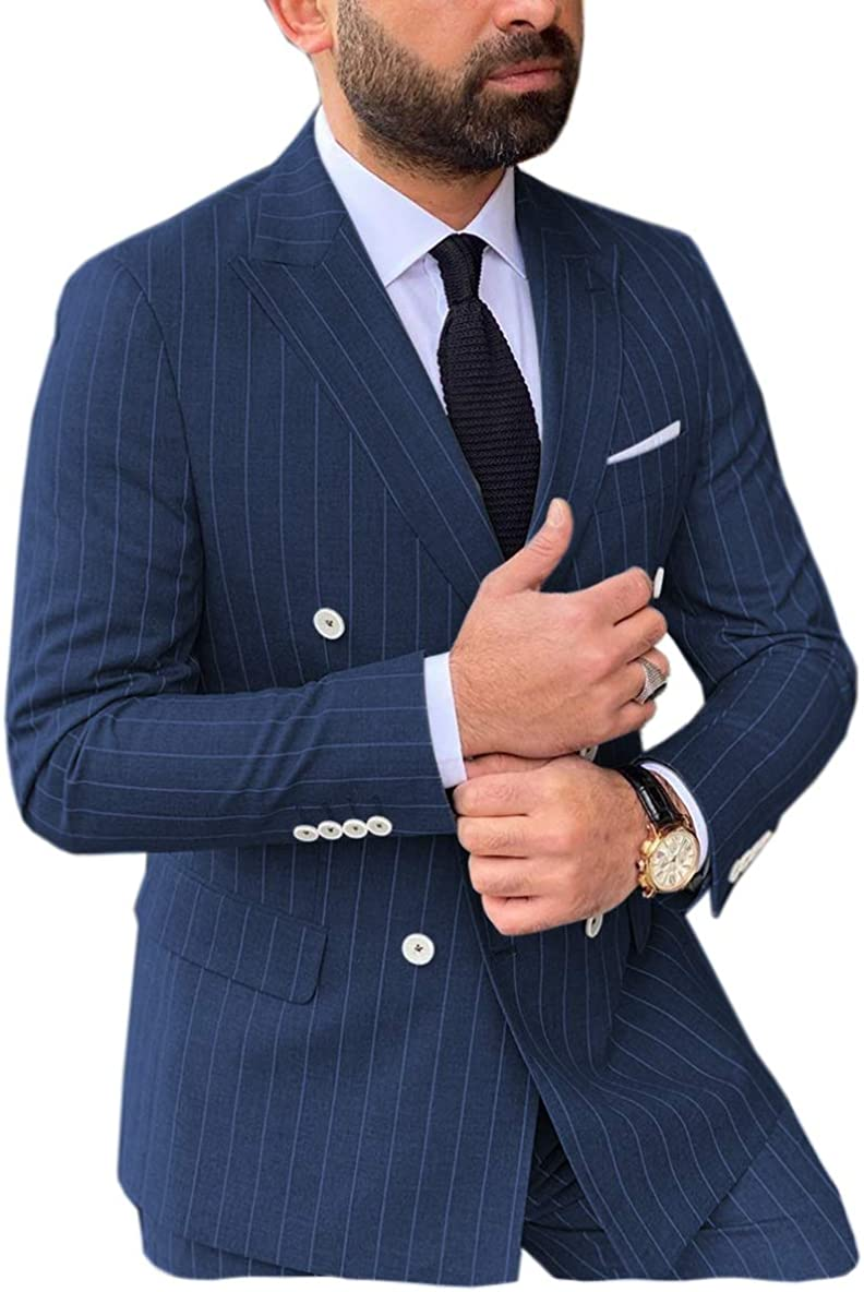 Men's 2 Pieces Formal Double Breasted Mens Suit Slim Fit Stripe Tuxedos for Wedding Groomsmen(Blazer+Pant)